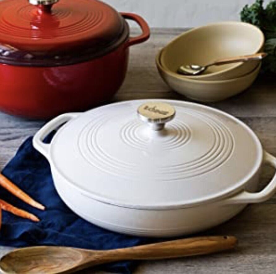Lodge EC3CC13 Enameled Cast Iron Casserole With Steel Knob and Loop Handles, 3.6 Quart, Oyster White Singapore